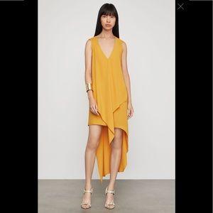BCBGMaxAzria Cascade Ruffle Golden Dress Lrg